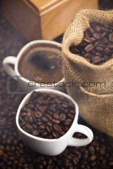 Caffee cup and beans
