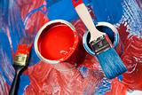 Paint brush and cans