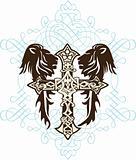 cross heraldic crest lion