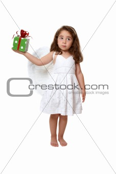 Little angel girl holding a present