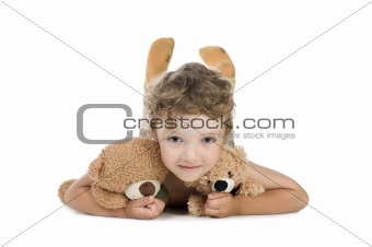 little boy with toy bear
