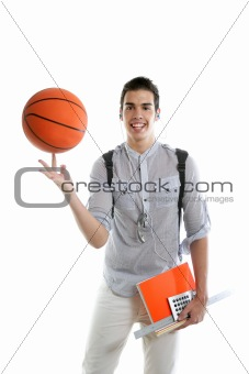 American look student boy with basket ball