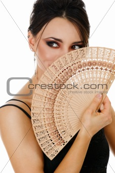 Beautiful woman with fan