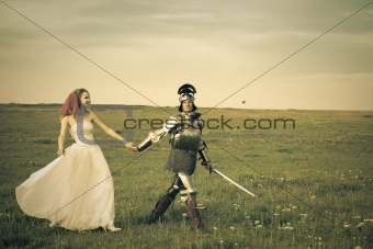 Princess Bride and her knight / wedding / retro style