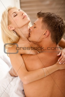 couple lovers passionate loving and kissing