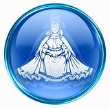 Virgo zodiac  icon, isolated on white background.