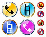 Vector glossy phones icons