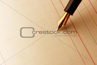 Fountain pen on ledger paper