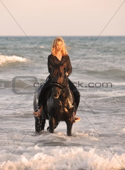 riding woman in sea