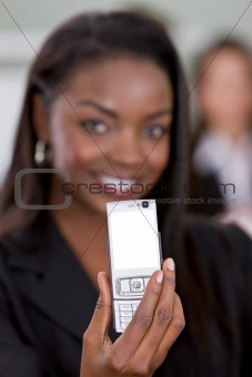 Business woman with a phone