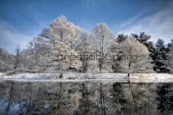 lake scene in winter