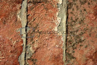 Three red bricks aligned. Old broken red clay tiles