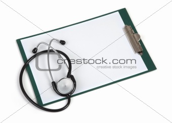 blank clipboard with stethoscope on white background