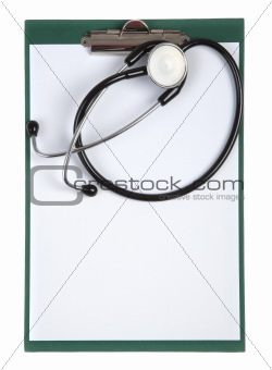 clipboard with stethoscope - top view