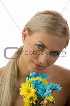 beauty girl yellow and blue flower
