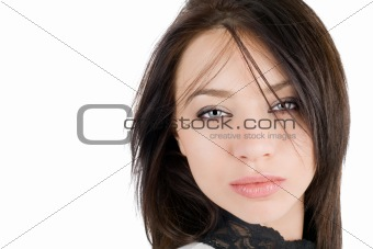 Portrait of the lovely young woman. Isolated
