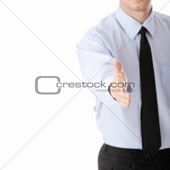 Business man ready to set a deal over white background