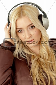 portrait of female enjoying music