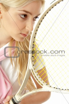 half length view of female playing tennis