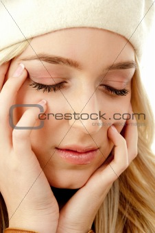 portrait of gorgeous female with closed eyes