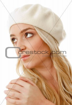 portrait of blonde female wearing cap