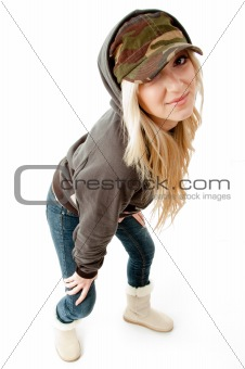 top view of smiling woman looking at camera