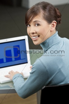 Beautiful Female Asian Executive Using a Laptop Computer