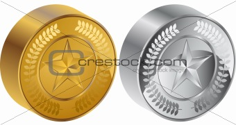 3D Star Coin Medals