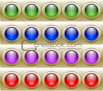 Four Rows of 5 Sets of Glossy Vector Buttons.