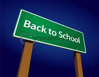 Back To School Road Sign Illustration on a Radiant Blue Background.