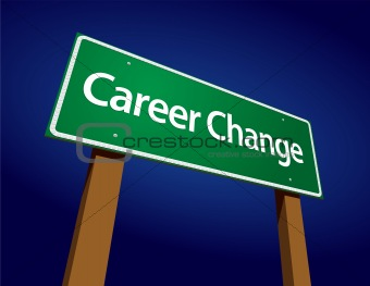 Career Change Green Road Sign Illustration on a Radiant Blue Background.