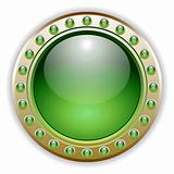 Ornate Detailed Green Glossy Vector Button Illustration.