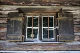Window of an old wooden hut