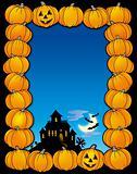 Halloween frame with house