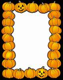 Halloween frame with pumpkins