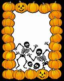 Halloween frame with skeletons