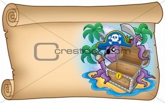 Old scroll with pirate octopus