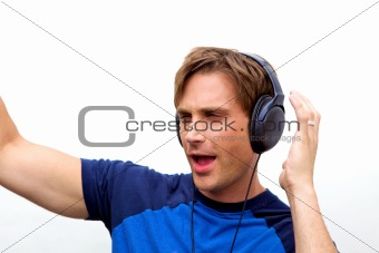 Attractive man with headphones, Handsome man jamming out
