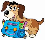 Dog with school bag
