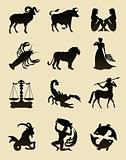 set of black zodiac astrology icons for horoscope