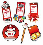 Santa Greetings Stickers for Tag and Card
