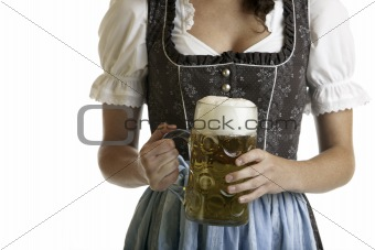 Bavarian Girl with Oktoberfest beer stein