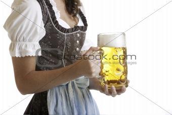 Bavarian Girl with Oktoberfest beer stein