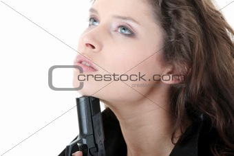 Suicide girl with gun isolated