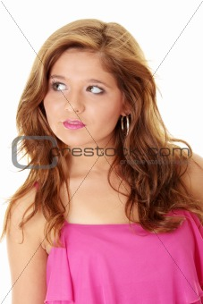 Beautiful brunette girl in hot pink.