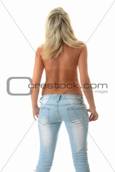 Rear view of young sexy girll