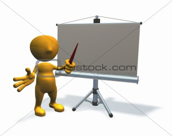 3d business character with presentation equipment