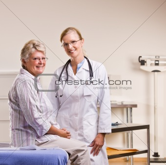 Senior woman having checkup in doctorÕs office