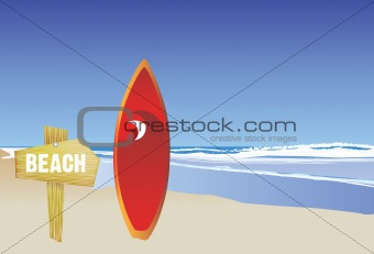beach and surfboard