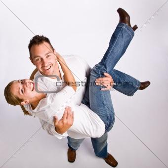Boyfriend carrying girlfriend